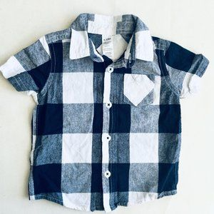 Blue & White Plaid Button Down Shirt